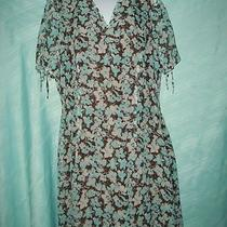 Pretty Aqua /white Floral Size 12 Dark Brown Background Chest 38 L 43 Photo