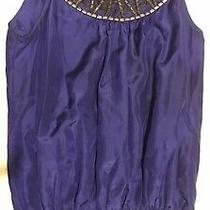 Pretty Blue Silk Top With Sequins Size 10 Excellent Condition Photo