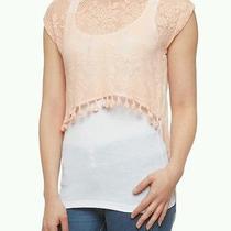 Pretty Blush Pink Floral Lace Mesh High Low Top Shirt Fringed Hem Large Photo