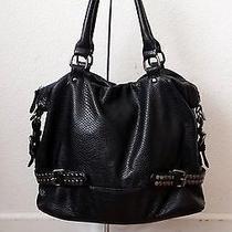 Pretty Deux Lux Black Moc Snake Leather Dome Tote Shopper Shoulder Bag Purse Photo