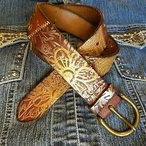 Pretty Fossil Ladies Leather Belt Patchwork Flower Pring Studded Brown Size M Photo