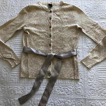 Pretty Gap Beige and Cream Floral Cardigan Beige Satin Removable Belt Size Xs Photo
