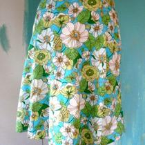 Pretty Gap Summer Flowers Aqua Grass Lime Floral a-Line Seersucker Skirt 4 Photo