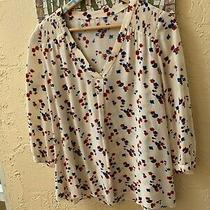 Pretty Gerard Darel v-Neck Blouse With Flowers Size 40 Photo