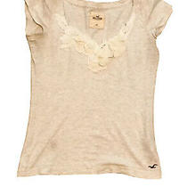Pretty Hollister Cotton T Shirt With Flower Elements Size Xs Photo
