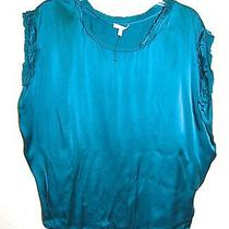 Pretty Joie Silk Satin Dolman Sleeve Top in Teal Xs Photo