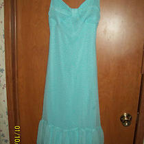 Pretty Junior Girls Aqua Blue & White Dotted B Smart Party Dress Size 3/4 Photo