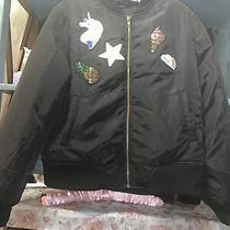 Pretty Little Thing Blush Black Unicorn  Bomber Jacket Size 14 Stunning Photo
