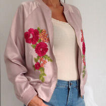 Pretty Little Thing Blush Pink Satin Summer Bomber Jacket Size 14 Plt Photo