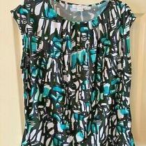 Pretty Liz Claiborne Shirt Top Tee Size Xl Black Green White Abstract Floral Photo
