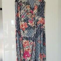 Pretty Monsoon Size 16/44 Blue Cotton Floral Bloom Dress Photo