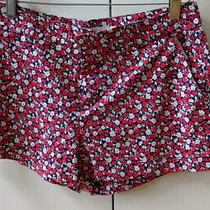 Pretty Red & White Flowers on Black Print Shorts From h&m - Size 10 Photo