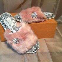 Pretty You London Blush Jeweled Slippers Women's Sz Small (5-6)  Photo