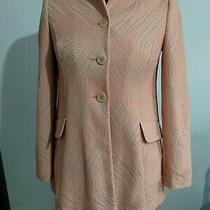 Primark Blush Pink Cobweb Coat Size 8 Pockets Big Button Smart Occasion Photo
