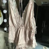 Primark Blush Pink Teddy Lingerie Silky Satiny Neglige Lace Accent Sz S 10-12 Photo