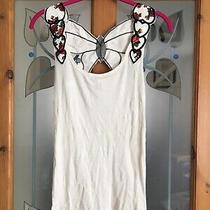 Primark Denim and Co White Butterfly Back Vest Detail Unusual Cute Size 12 10 Bn Photo