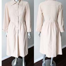 Princess Cut Vintage 70s 80s All Weather Nude Blush Button Dress Jacket Coat M Photo