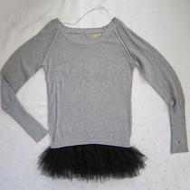 Princess Vera Wang Gray Knit Sweater Dress W/ Black Tulle Trim  Junior Size L Photo