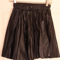 Princess Vera Wang Jr. Size 3 Faux Leather Pleated Black Hipster Goth Skirt  Photo
