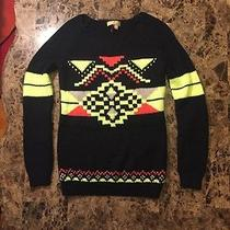 Princess Vera Wang Neon Aztec Sweater Black Yellow Orange Gray Nordic Xs Rare Photo