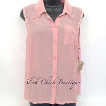 Princess Vera Wang Womens Size Xl Sheer Sleeveless Tank Shirt Blouse