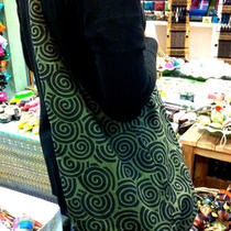 Printed Cotton Crossbody Sling Bag Purse Oriental Green Pattern Photo