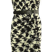Printed Houndstooth Faux Wrap Belted Dress (8 Black/winter White) Photo