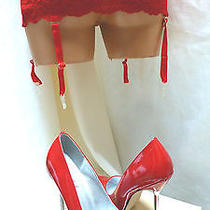 Private Fantasy Red Stiletto Sexy Stripper Shoes Nylon Lace Red Garter Belt Set Photo