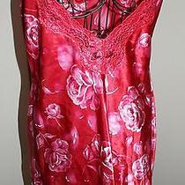 Private Luxuries by Natori Red/pink Rose Silk Gown Photo