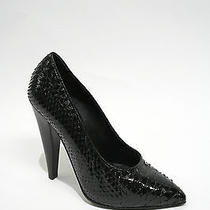 Proenza Schouler Black Lacquered Python Skin Hi-Heel  Pumps Shoes 7 Photo