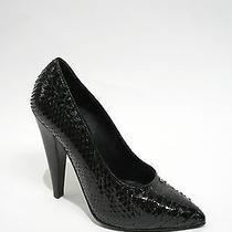 Proenza Schouler Black Lacquered Python Skin Hi-Heel  Pumps Shoes 7 Photo