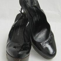 Proenza Schouler Black Patent Leather Wood Platform Slingbacks Sz 7.5 Photo
