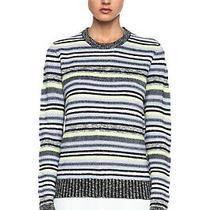 Proenza Schouler Crewneck Merino Wool Blend Sweater Knit Stripe Rrp 650 Photo