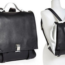 Proenza Schouler Ps Courier Large Leather Backpack Bag  Black/white Nwt 2.2k Photo