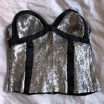 Proenza Schouler Sequin Bustier Black Silver Sz 2 Xs Photo
