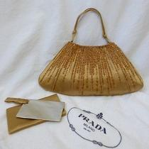 Professionally Authenticated Prada Gold Silk Satin Beaded Evening Bag  Photo