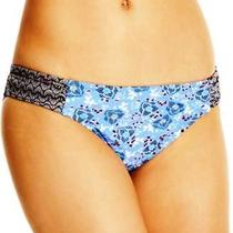 Profile Blush Gottex Side Tab Bikini Bottom  Blue Black Large New  Photo