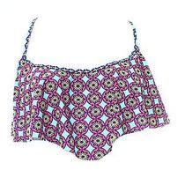 Profile Blush New Blue Pink Print Women's Size Medium M Bikini Top Swimwear 78 Photo