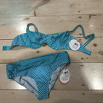 Profile Blush Swimwear Plaid Teal and White Bikini Top Medium Ddd Bottoms Xl Nwt Photo