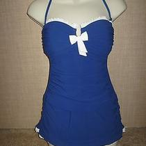 Profile by Gottex 'Black Tie' Skirted One Piece Bandeau Swimsuit Blue & White 8 Photo