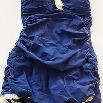 Profile by Gottex 'Black Tie' Skirted One Piece Bandeau Swimsuit Sz 8 Navy 138 Photo