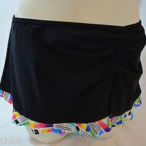 Profile by Gottex Brushstoke Side Tie Skirted Hipster Bottom Size 8 Black Photo