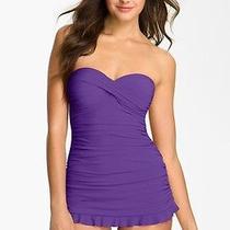 Profile by Gottex Tutti Frutti Skirted One-Piece Swim Dress Amethyst Purple 16  Photo
