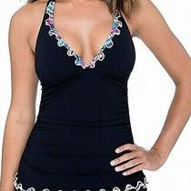Profile by Gottex Women's Swimwear Black Size 10 Halter Ruffle Top 88- 421 Photo