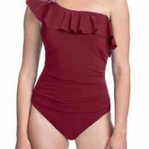 Profile by Gottex Women's Swimwear Red Size 12 One Shoulder Ruffle 118- 224 Photo