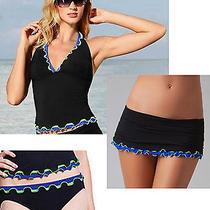 Profile Gottex Sz 8 3pc Set Tricolore Tankini Skirted Swimsuit  Nwt 210 Black Photo