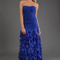 Prom Sue Wong Cobalt Blue Feathered Dress- Size 0 Photo