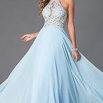 Promgirl- Blush Exclusive Long Lace Open Back Prom Dress Turquoise Size 8 Photo