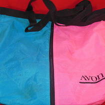 Promotional Avon Blue and Pink Zippered Large Tote Carryall Bag With Name Photo