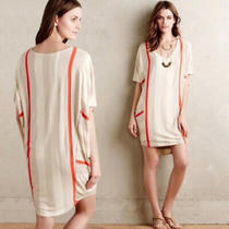 Puella Elevation Tunic Cocoon Striped Dress Sz Xs Anthropologie Dolman Sleeves Photo